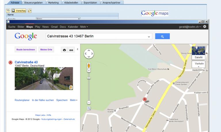 Google Maps direkt aus SAP ERP aufrufen