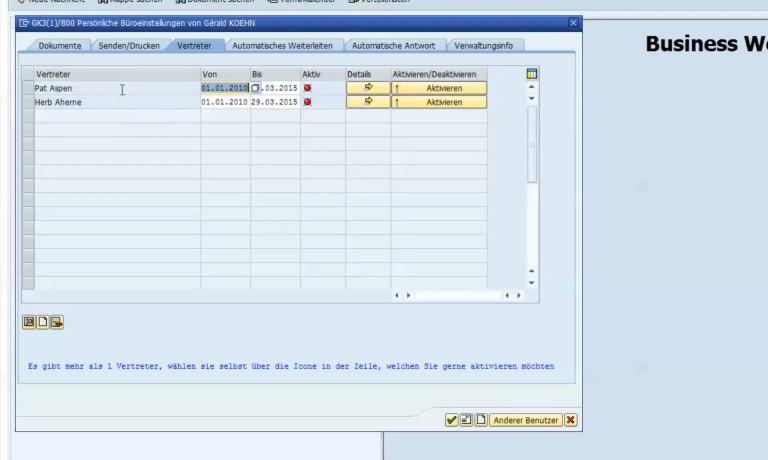 Vertretung im SAP ERP einfach aktivieren/deaktivieren